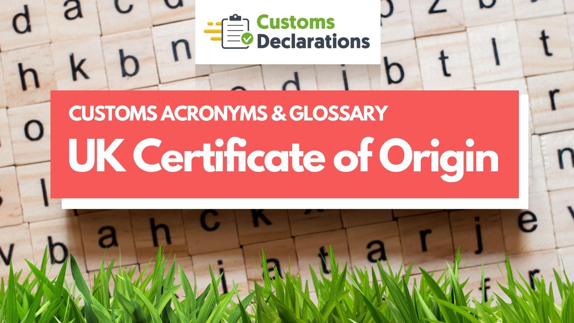 UK Certificate of Origin